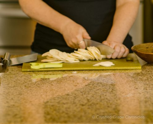 Cutting Parsnips for Cheesey Root Vegetable Gratin