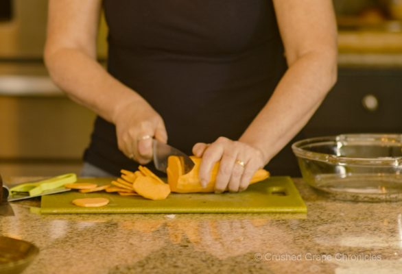 Cutting Sweet Potato for Cheesey Root Vegetable Gratin