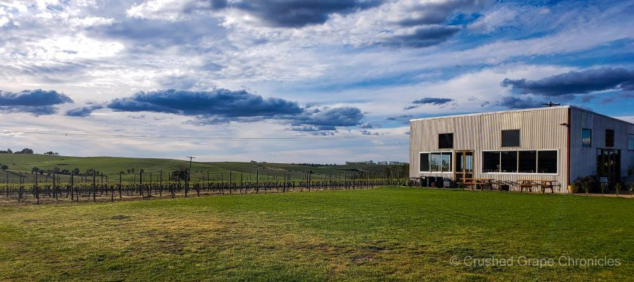 A view of the cellar door from across the lawn at Nashdale Lane in Orange NSW Australia
