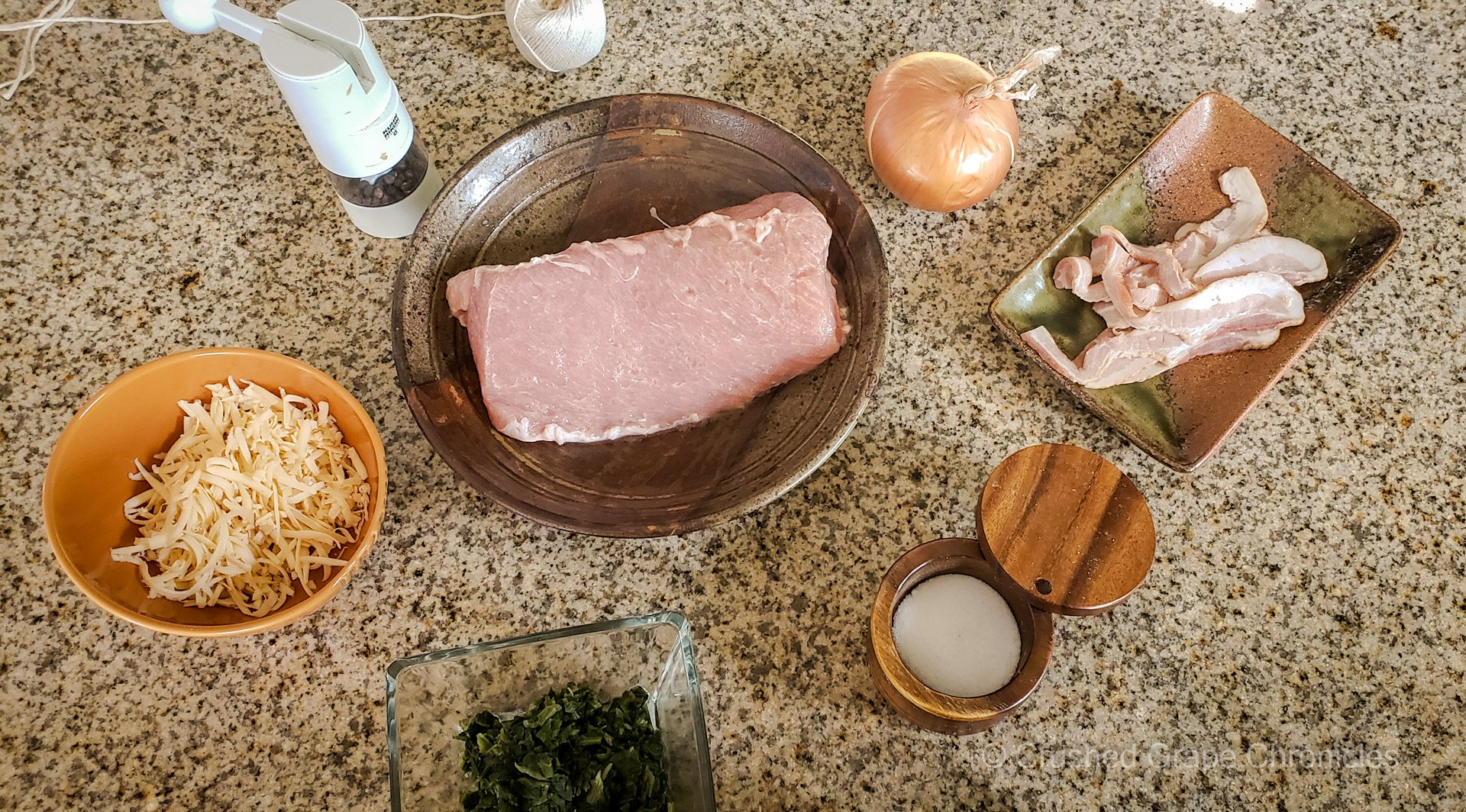 Bacon, spinach, gouda stuffed Porkloin ingredients