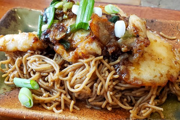 Spring Onion with Ginger and Cod on Fried Noodles to pair with Sweet Bordeaux