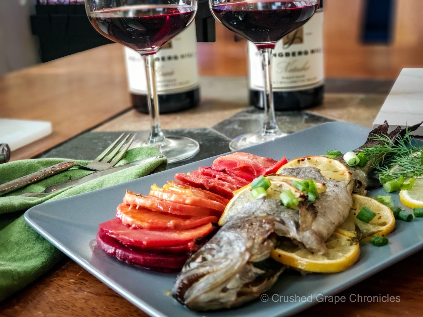 Rainbow Root Vegetable Gratin and Baked Rainbow Trout with Youngberg Pinot