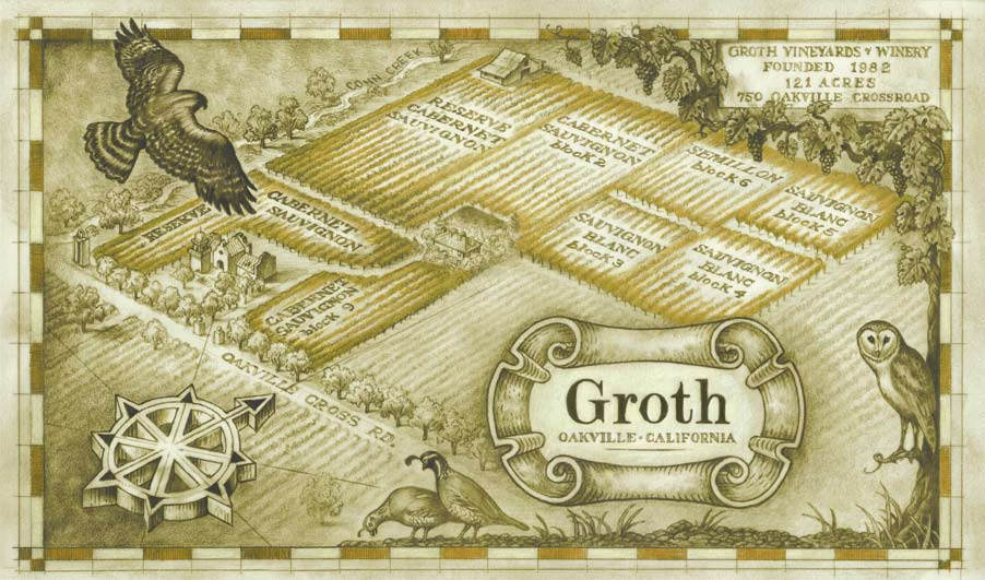 Map of the Groth Oakville Estate Vineyard courtesy Groth Vineyards & Winery