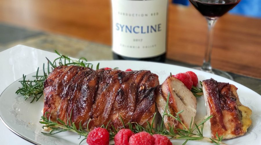 Syncline 2017 Subduction Red with a Bacon Wrapped Stuffed Pork Tenderloin with raspberry sauce