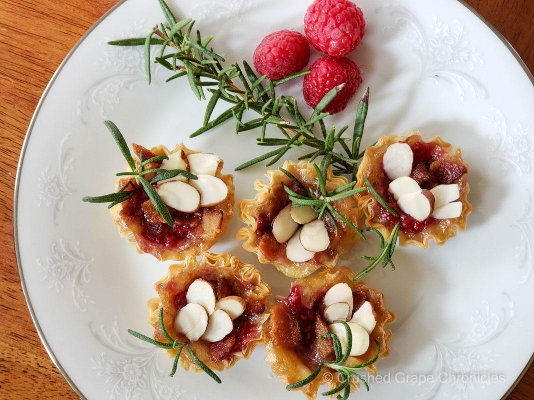 Brie raspberry phyllo bites