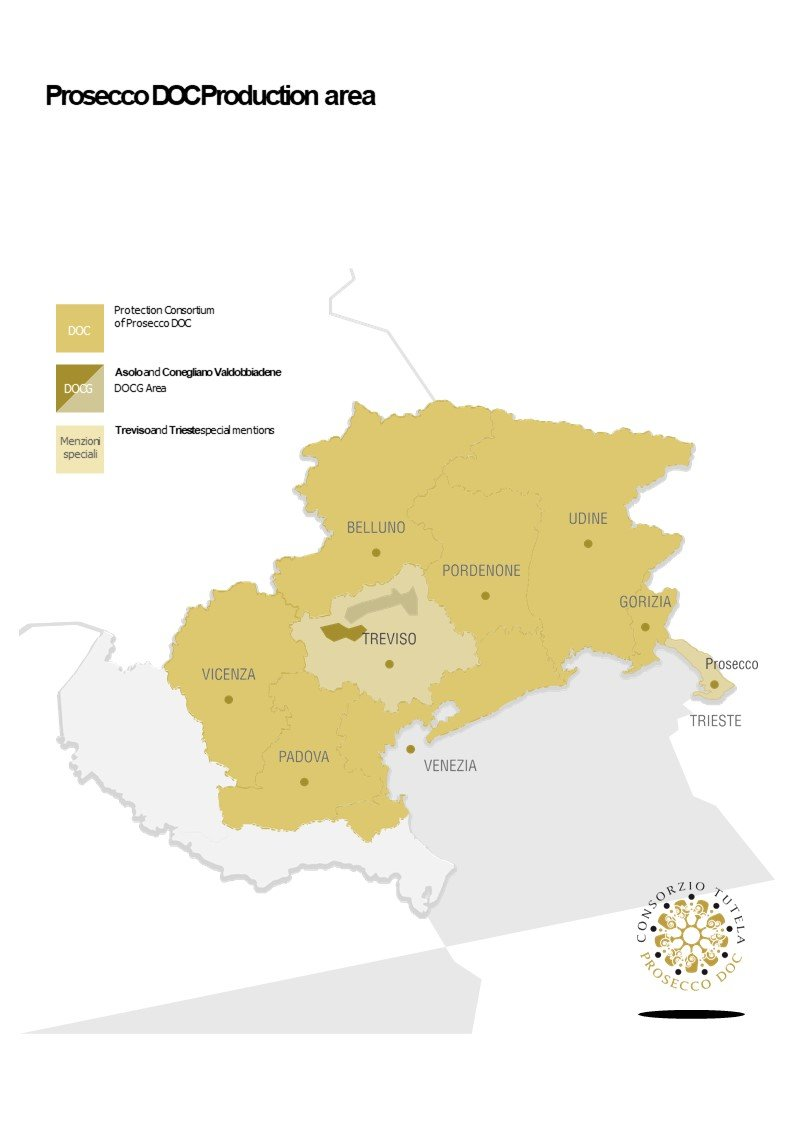 Map of the Prosecco Production Area courtesty Consorzio Tutela Prosecco DOC