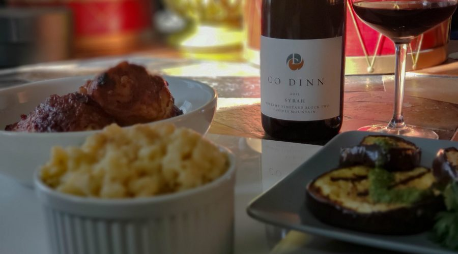 Co Dinn 2015 Roskamp Vineyard Block 2 Syrah with BBQ chicken, grilled eggplant with chimichurri and smoke gouda mac and cheese