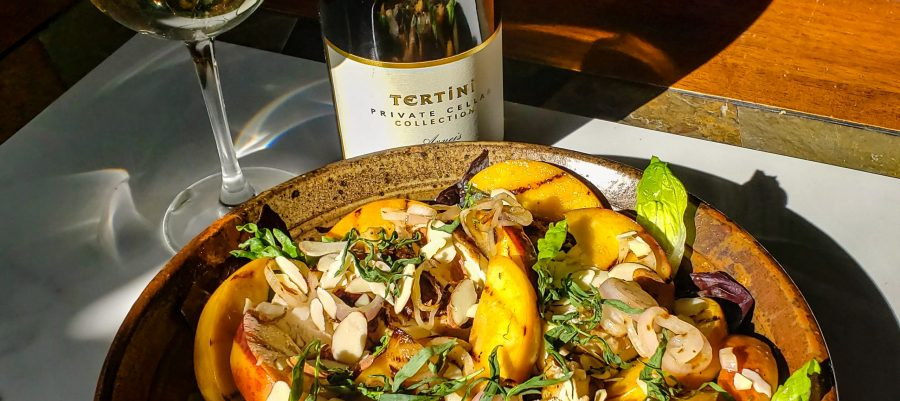 Grilled Peach and Roasted chicken and Tarragon Salad Plating
