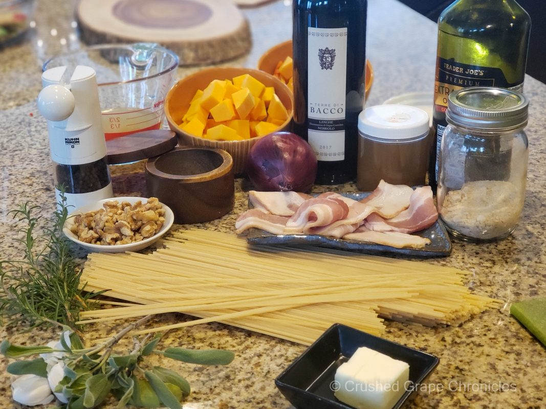 bacon and butternut pasta ingredients to pair with Terre di Bacco 2017 Nebbiolo