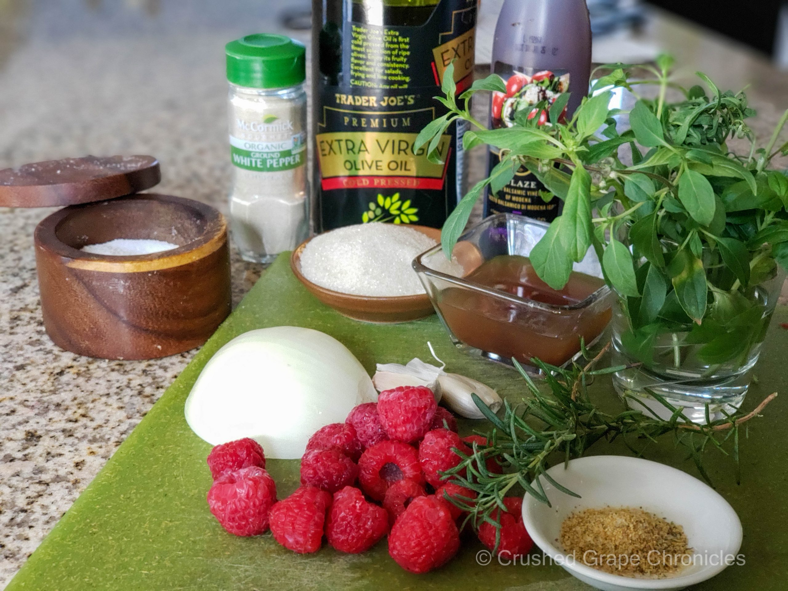 Ingredients for raspberry sauce