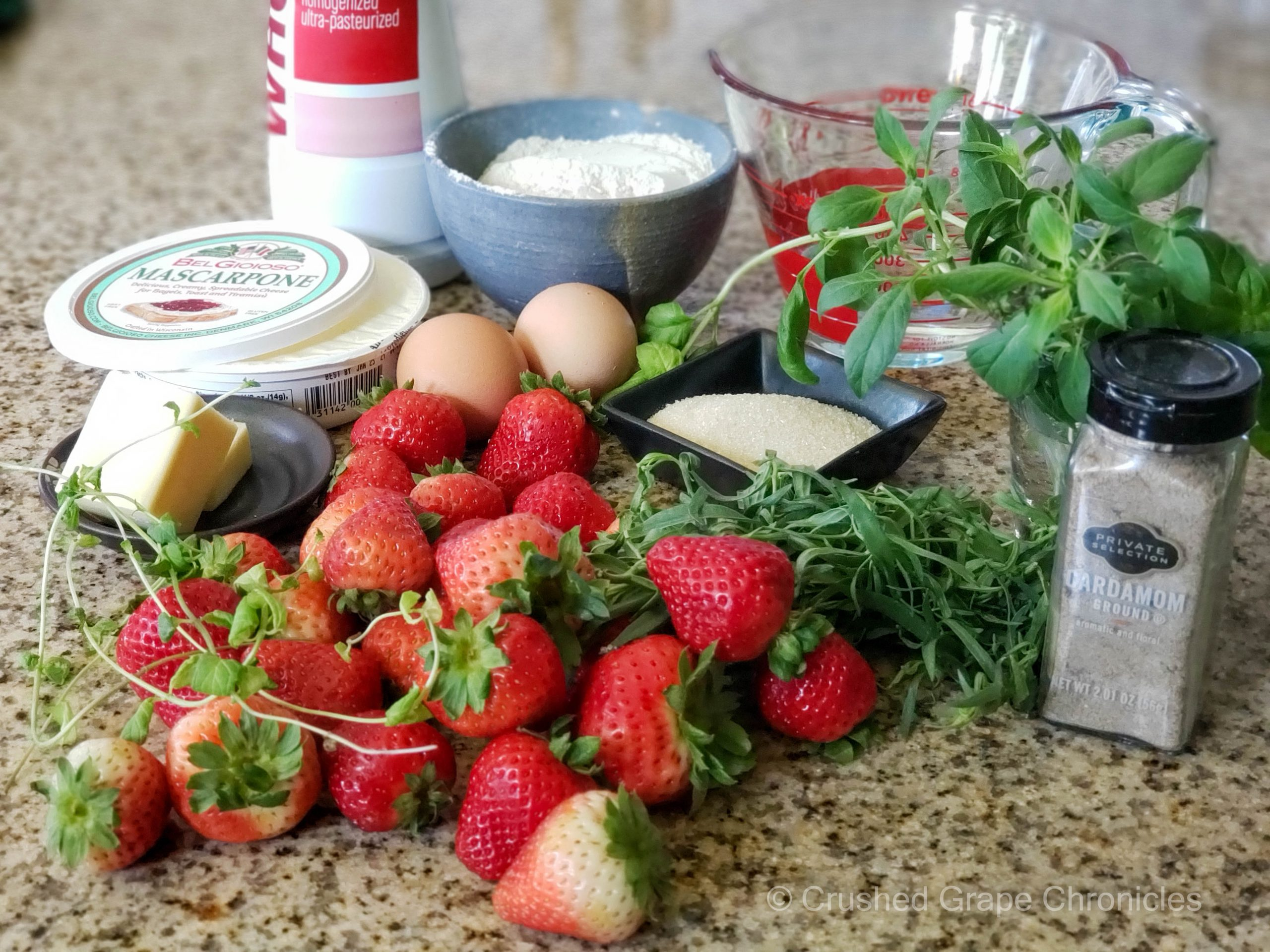 Ingredients for strawberry mascarpone crepes