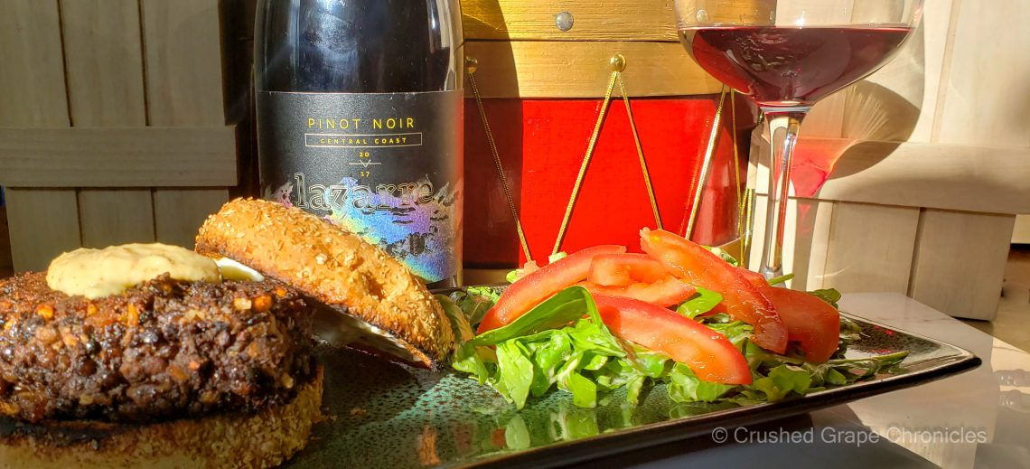 LaZarre 2017 Central Coast Pinot Noir and black bean lentil burgers