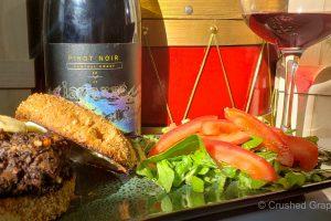 LaZarre 2017 Central Coast Pinot Noir and black bean lentil burgers