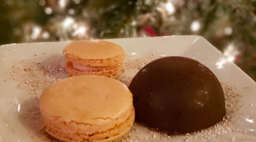 Strawberry mousse filled macarons (and a blackberry goat cheese chocolate bomb)