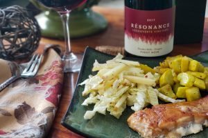 Résonance – Découverte Vineyard 2017 Pinot Noir with a dinner of salmon coating in a honey-harissa glaze.