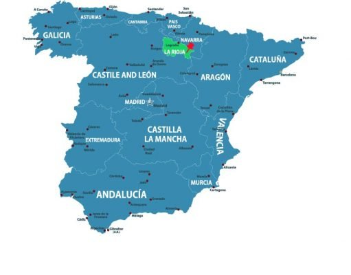 Map of Spain with the Region of Rioja highllighted - map via Adobe Stock