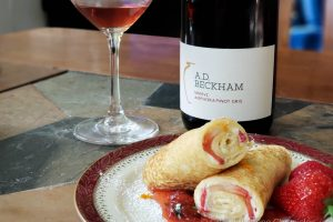 Strawberry Mascarpone crepes with AD Beckham Pinot Gris