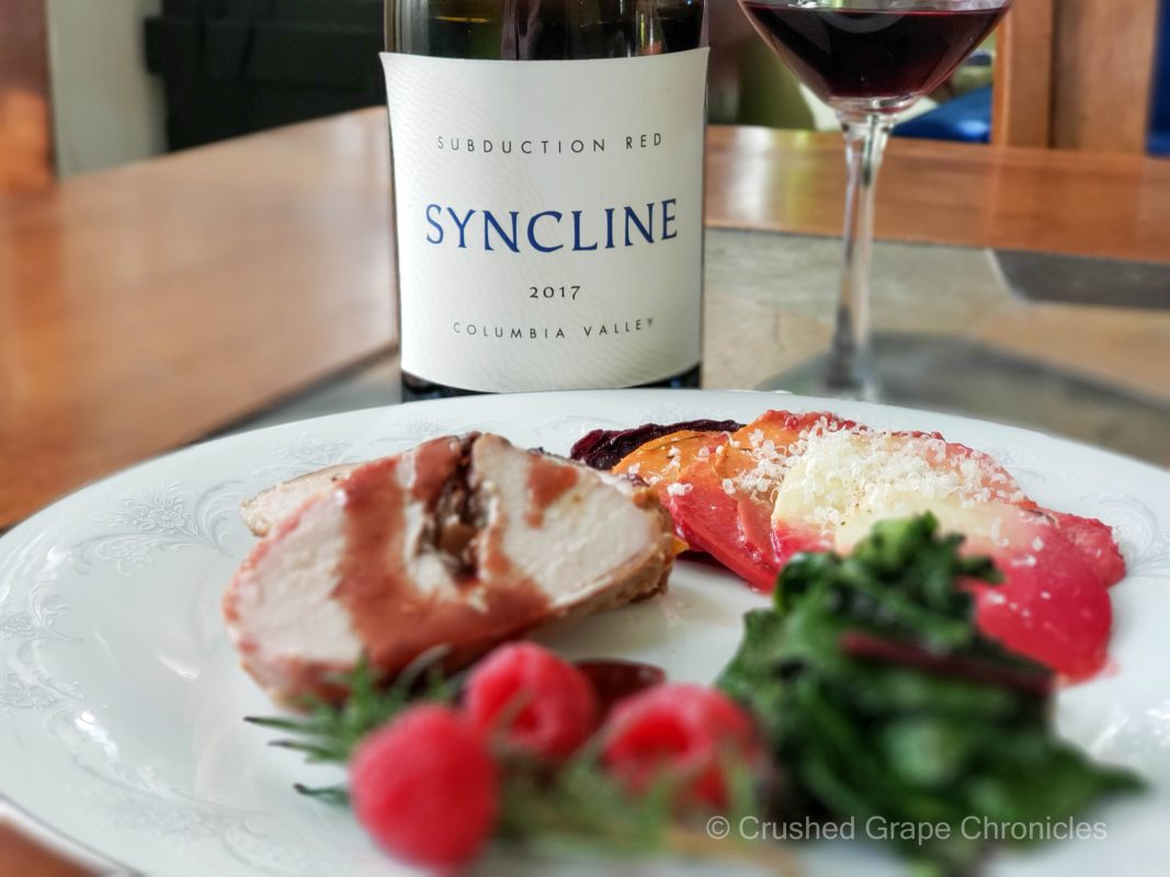 Syncline Subduction Red with stuffed pork loin beet greens and a rainbow root gratin