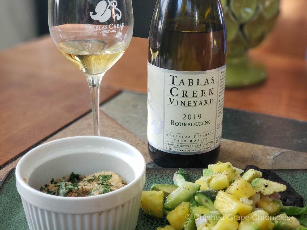 Tablas Creek 2019 Bourboulenc with Coquilles St. Jacque and a pineapple, cucumber, avocado salad