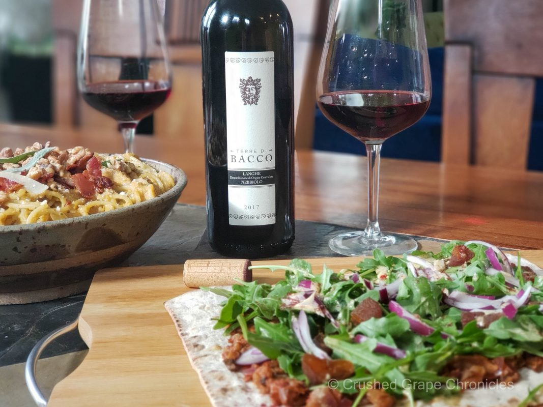 Terre di Bacco 2017 Nebbiolo with walnut mushroom flatbread and bacon butternut pasta
