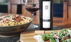 Bacon and butternut pasta and walnut mushroom flatbread wiht Terre di Bacco 2017 Nebbiolo