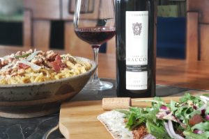Bacon and butternut pasta and walnut mushroom flatbread wiht Terre di Bacco 2017 Nebbiolo