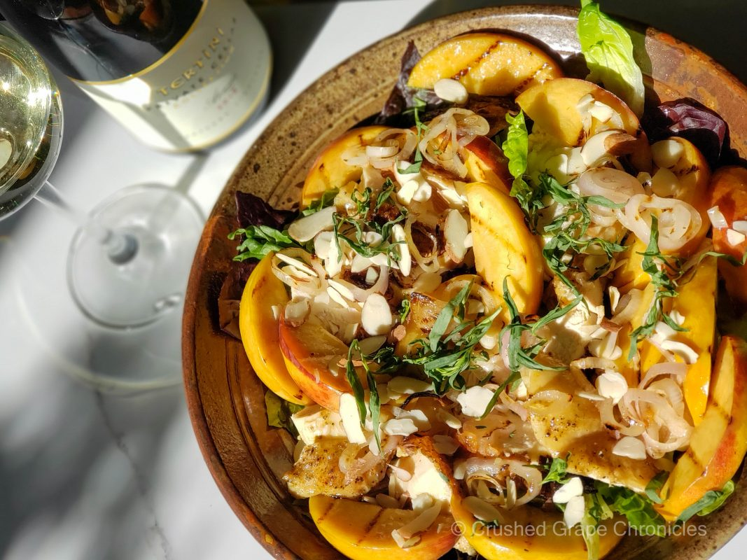 Tertini Private Cellar Collection 2018 Arneis with grilled peach, chicken and tarragon salad from Southern Highlands NSW Australia