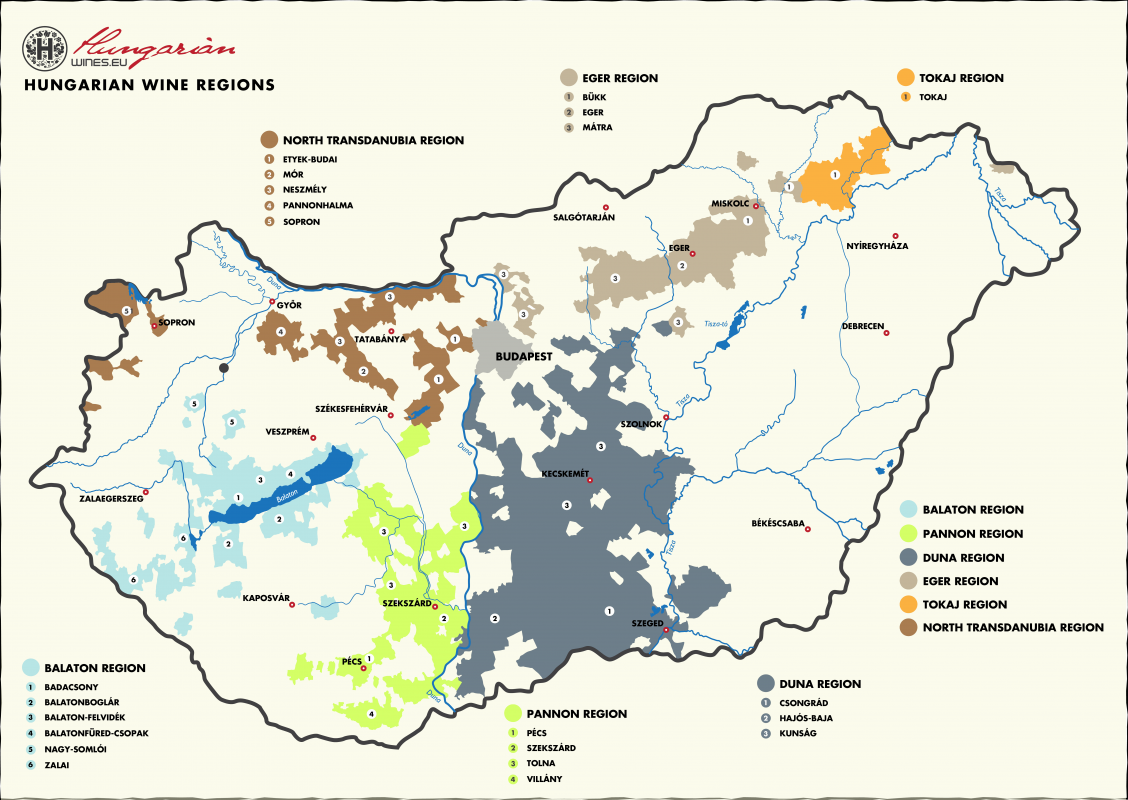 Map of Hungarian Wine Regions courtesy of Hungarian Wines