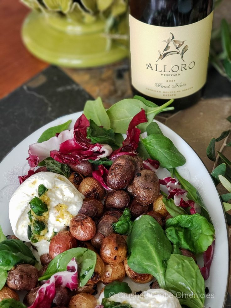 Alloro 2019 Pinot Noir and roasted lemon potatoes with basil radicchio and burrata scaled