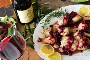 Alloro 2018 Pinot Noir with Cornish Game Hens with a savory berry drizzle