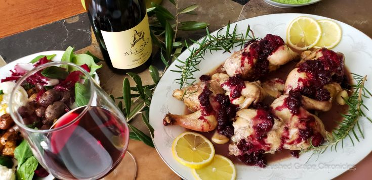 Alloro Pinot Noir with Cornish Game hens with savory berry sauce scaled