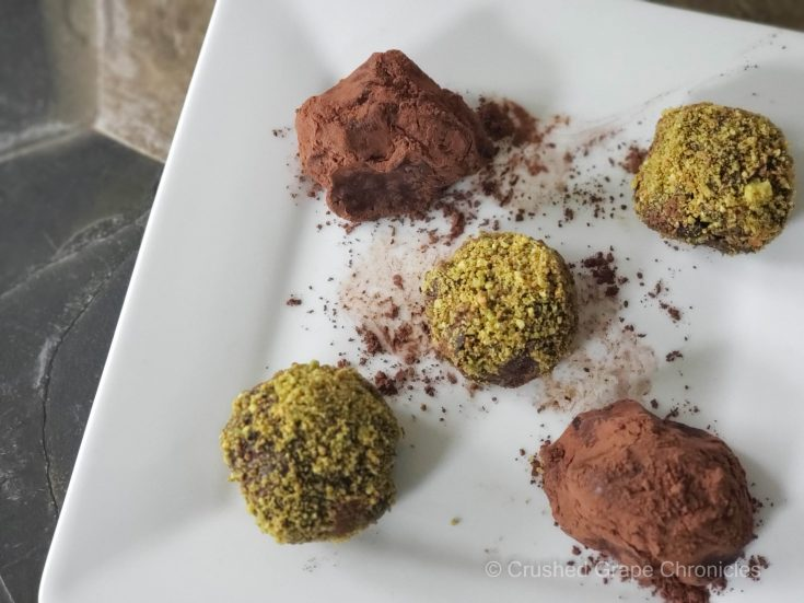Cabernet Sauvignon truffles with espresso and cocoa or cranberries and pistachios 3 scaled