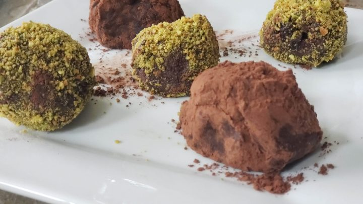 Cabernet Sauvignon truffles with espresso and cocoa or cranberries and pistachios