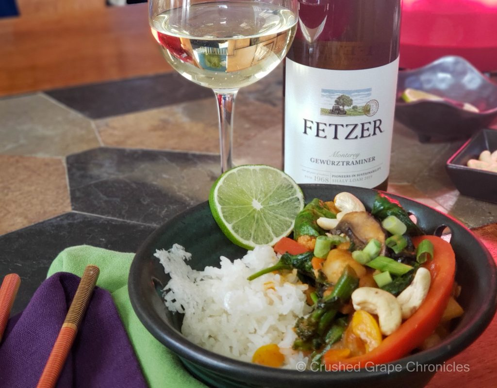 Fetzer 2019 Gewürztraminer and Thai Red Curry