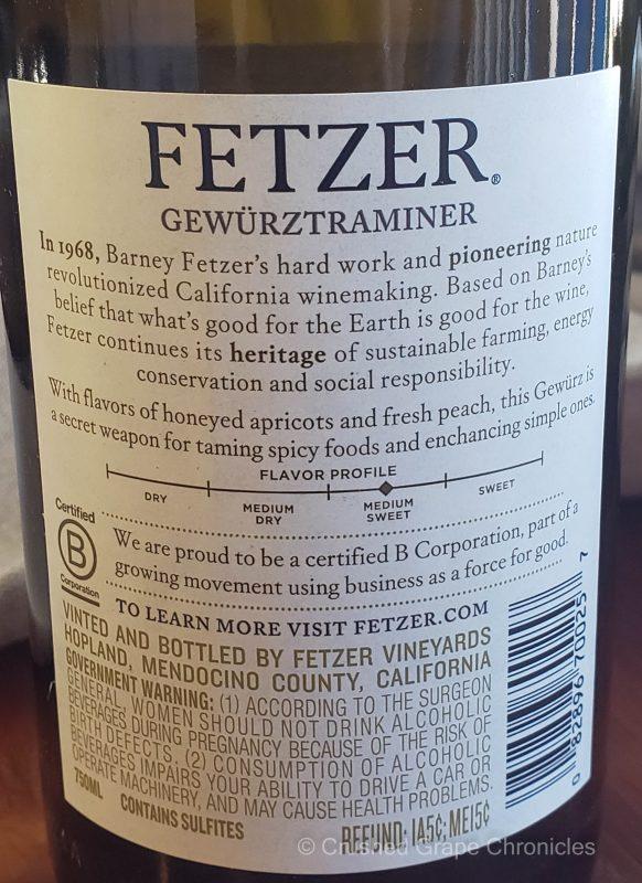 Fetzer 2019 Gewürztraminer-back label