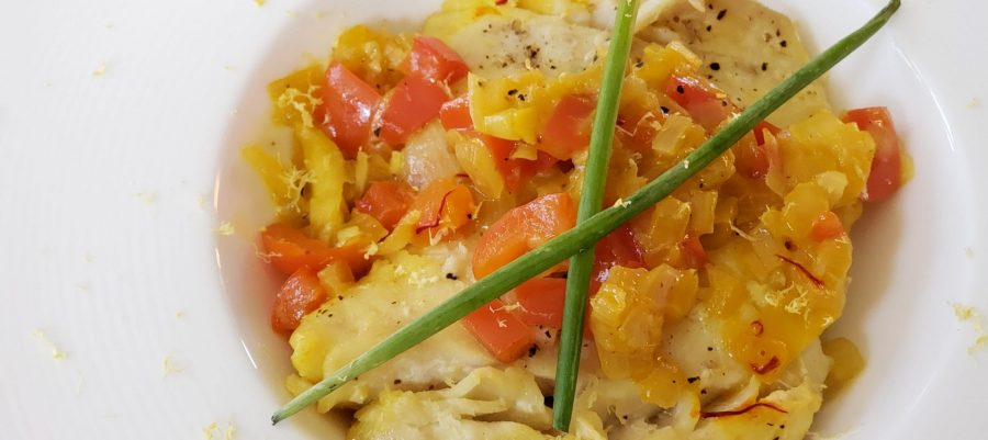 Spanish inspired Cod poached in a white wine saffron sauce