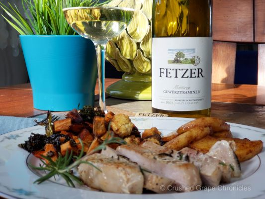 Fetzer 2019 Gewürztraminer from Monterey with sous vide pork roasted vegetables and sautéed apples