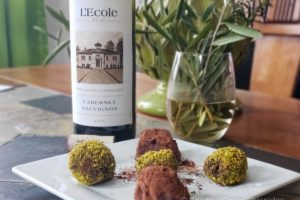L'Ecole No. 41 2017 Walla Walla Cabernet Sauvignon with chocolate truffles