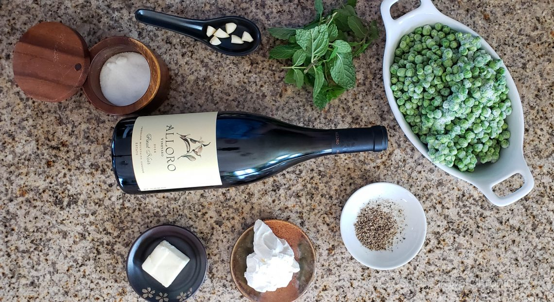 Mint pea mash ingredients with Alloro Pinot Noir