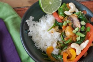 Thai Red Curry with shrimp and vegetables served on jasmine rice
