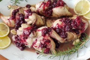 Roasted Cornish Game Hens with a savory berry drizzle