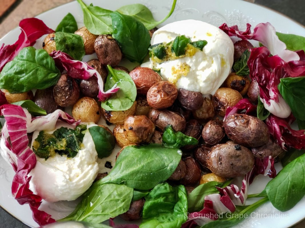 roasted lemon potatoes with basil radicchio and burrata
