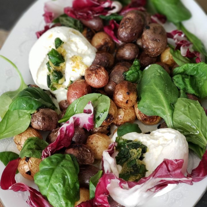 roasted lemon potatoes with basil radicchio and burrata 2 scaled