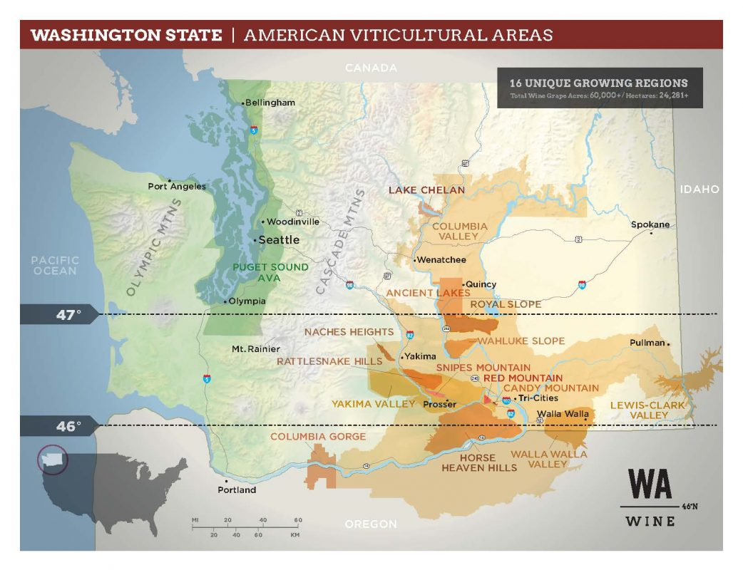 Washington State Wine AVA Map Oct 2020 - courtesy Washington State Wine