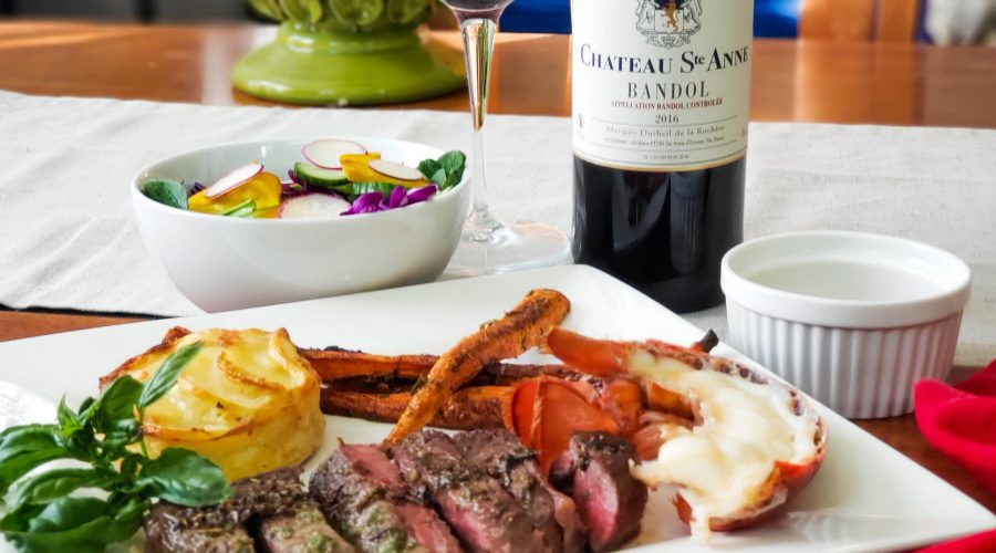 Chateau Ste. Anne 2016 Bandol Rouge with steak and roasted carrots in Herbs de Provence a Valentine's feast