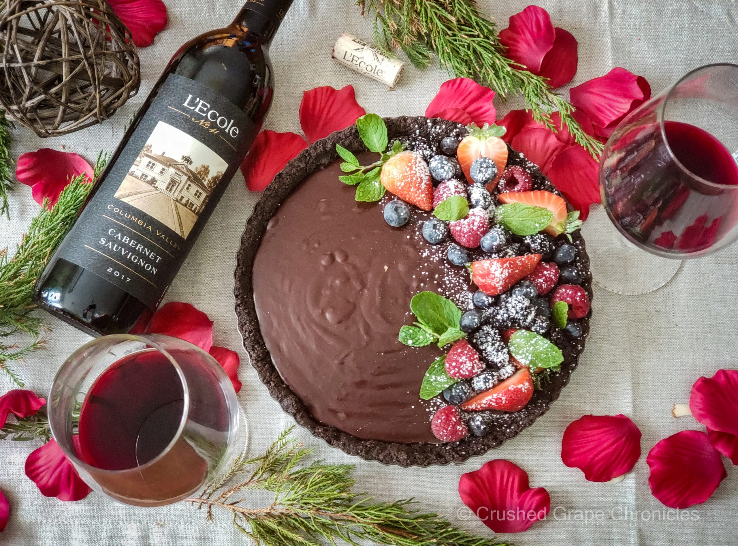 Chocolate Tart with Forest Berries and L'Ecole Cabernet