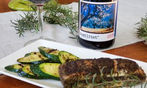 Coffee and 5 spice sous vide salmon and grilled Zucchini with Priorat 2015 humilitat by Franck Massard