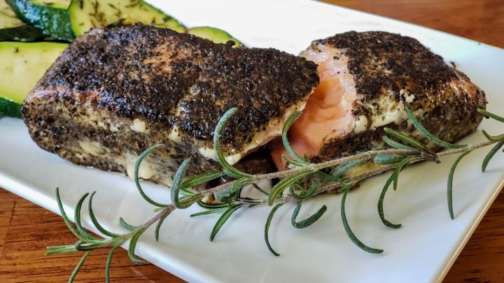 Coffee & five spice sous vide salmon with grilled zucchini