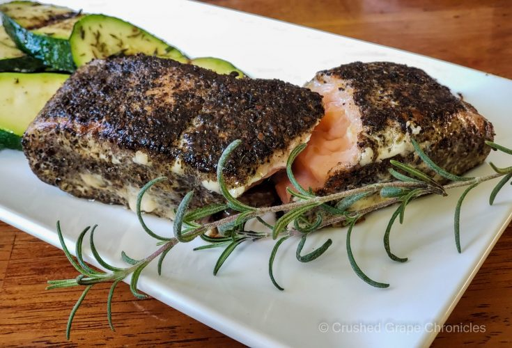 Coffee five spice sous vide salmon with grilled zucchini scaled
