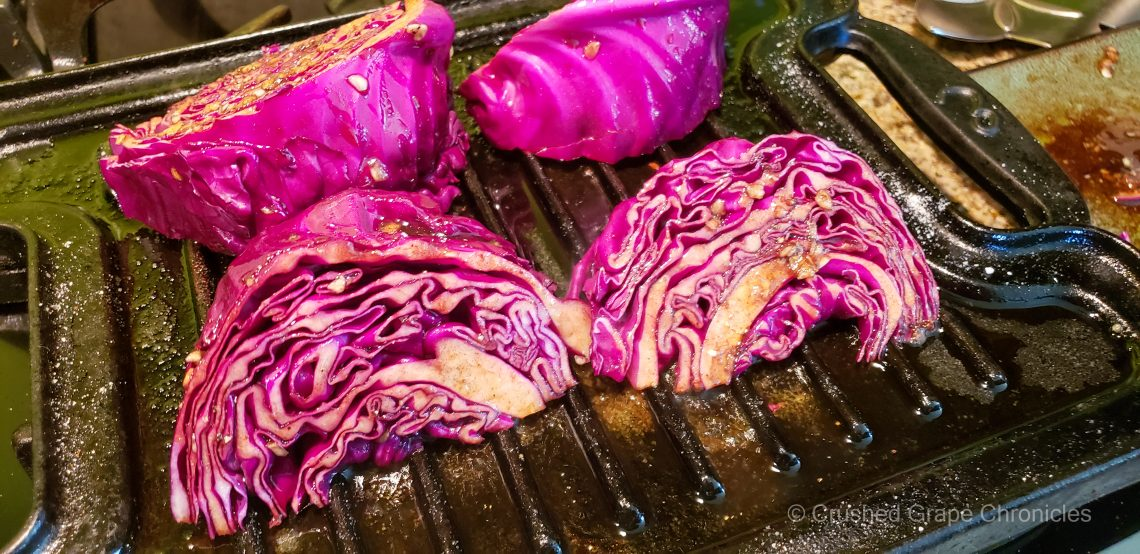 Grilled Balsamic purple Cabbage and L'Ecole Cabernet